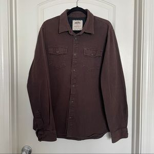 Men's van brown cotton button down shirt | Xl